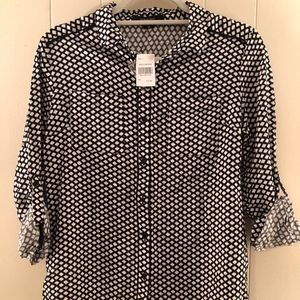 Black and white patterned button down dress shirt